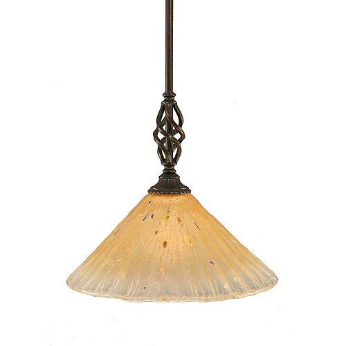 Concord 1 lumière au plafond granite foncé Pendeloque incandescence par un verre ambre