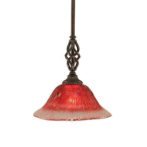 Concord 1 lumière au plafond granite foncé Pendeloque à incandescence avec un cristal de verre Framboise