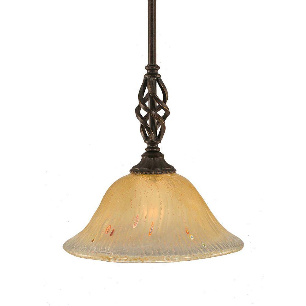 Filament Design Concord 1-Light Ceiling Dark Granite Pendant with an Amber Glass