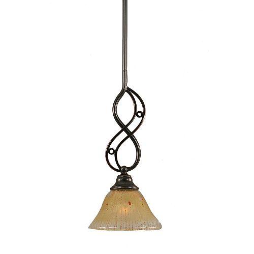 Filament Design Concord 1 lumière au plafond Noir Copper Pendeloque incandescence par un verre ambre