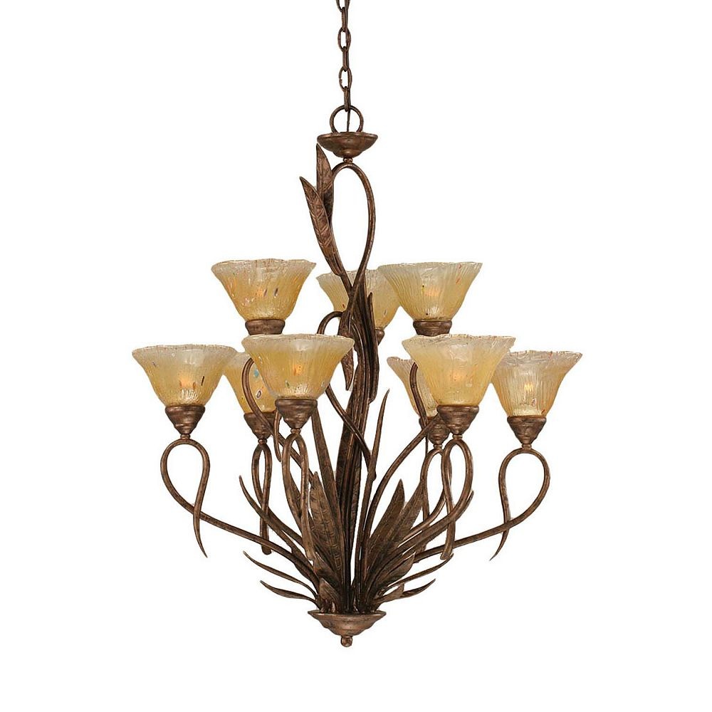 Filament Design Concord 9-Light Ceiling Bronze Chandelier with an Amber Glass