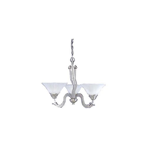 Filament Design Concord 3-Light Ceiling Brushed Nickel Chandelier with a White Marble Glass