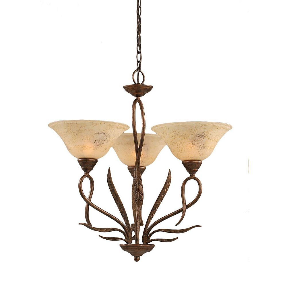 Filament Design Concord 3 Light Ceiling Bronze Incandescent Chandelier with an Italian Marble Glass