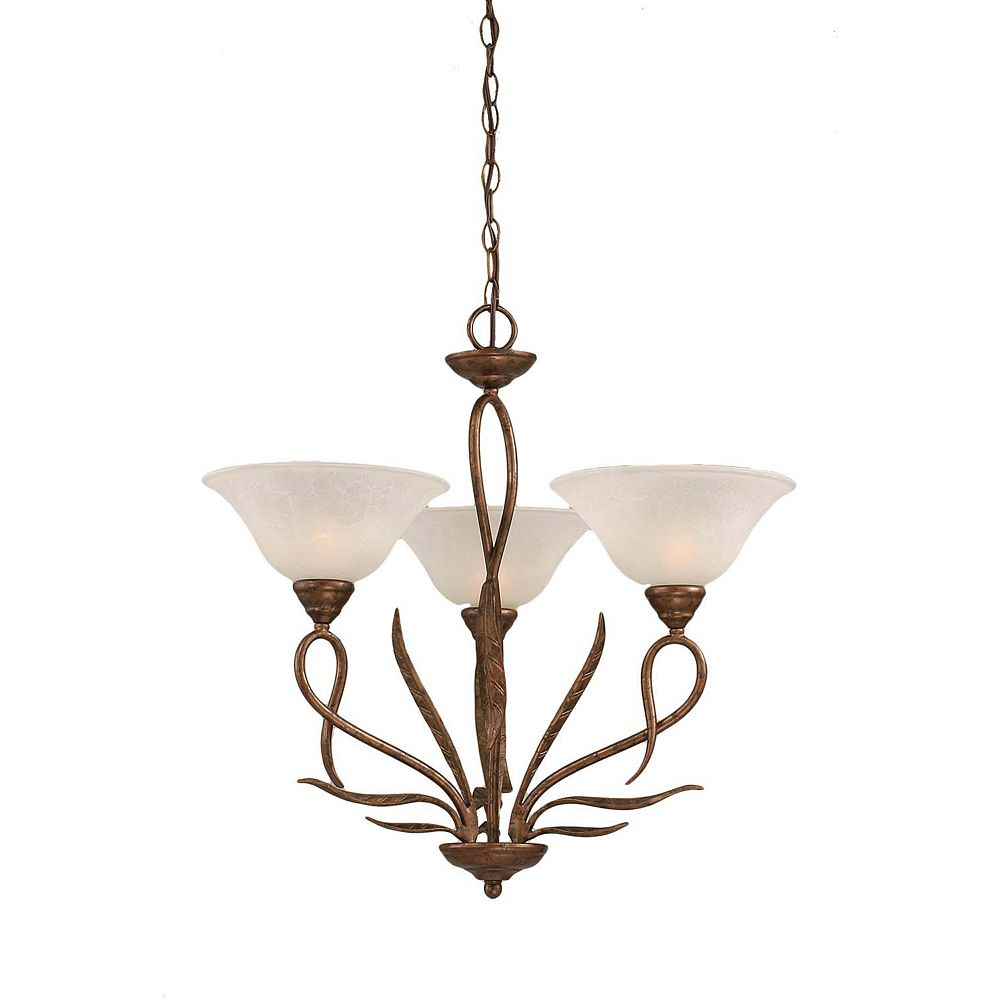 Filament Design Concord 3 Light Ceiling Bronze Incandescent Chandelier with a White Marble Glass