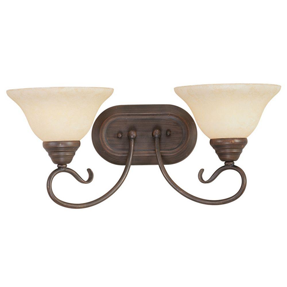 Illumine Providence 2 Light Imperial Bronze Incandescent Bath Vanity with Vintage Scavo Glass