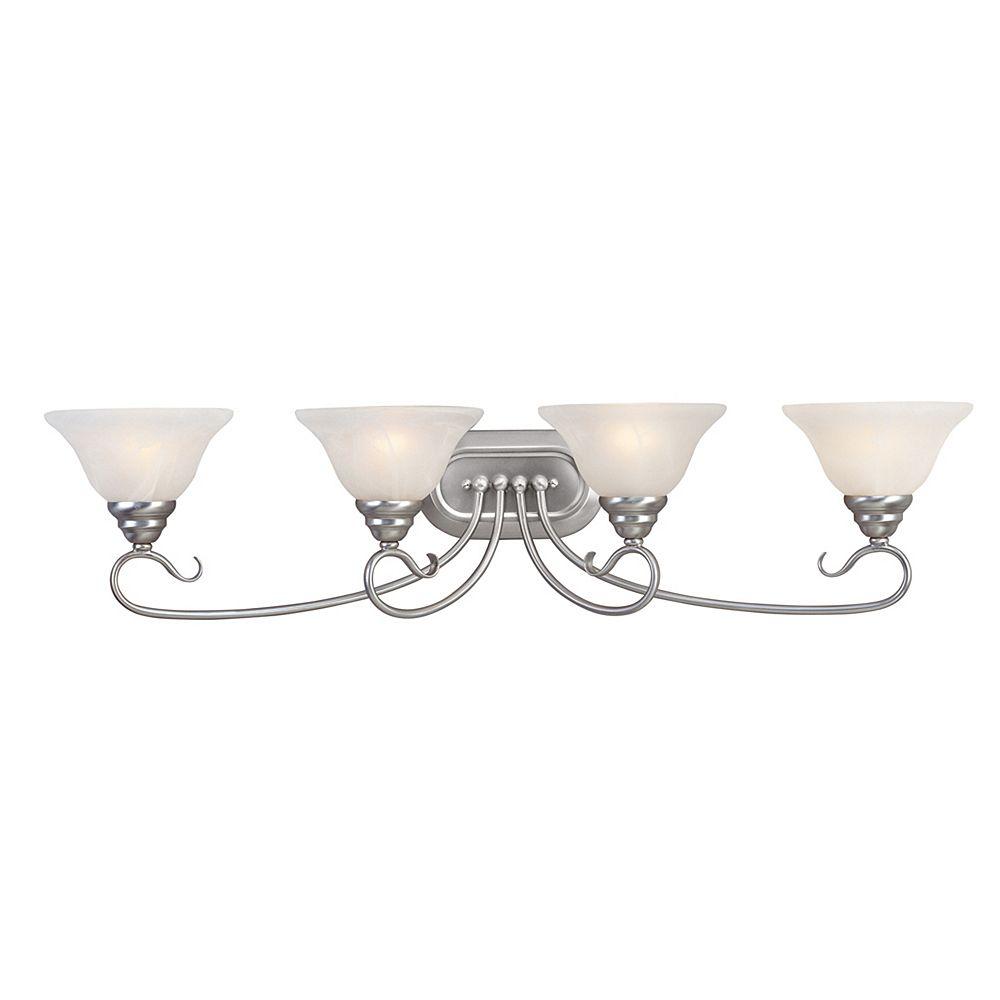 Illumine Providence 4-Light Brushed Nickel Bath Vanity with White Alabaster Glass