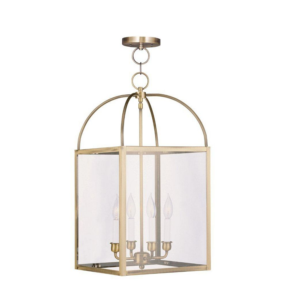 Illumine Providence 4 Light Antique Brass Incandescent Pendant with Clear Glass