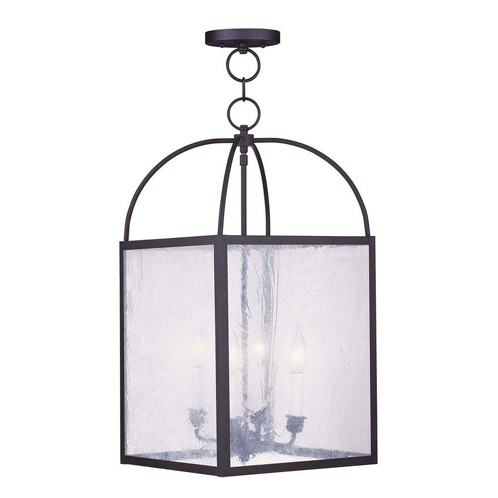 Illumine Providence 4 Light Black Incandescent Pendant with Seeded Glass