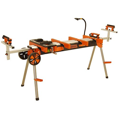 Heavy Duty Portable Mitre Saw Stand with Tool Mounts, Wheels, Work Light, Vise, 4-Outlet Power
