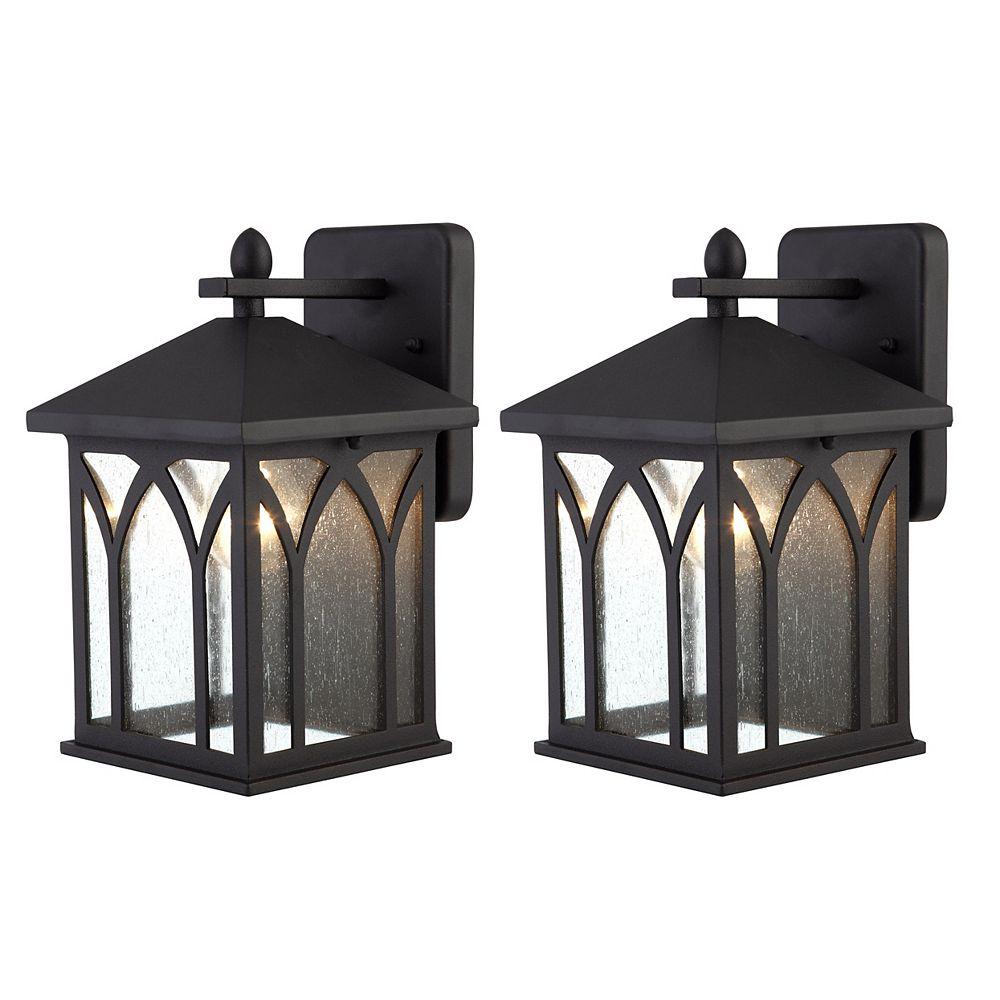 Canarm Bishop 1 Light Black Outdoor Wall Lantern, (2-Pack)