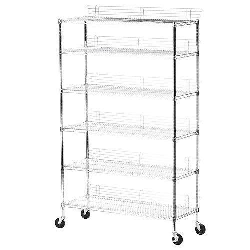 Honey-Can-Do 6-Shelf 72-inch H x 48-inch W x 18-inch D Rolling Steel Shelving Unit in Chrome