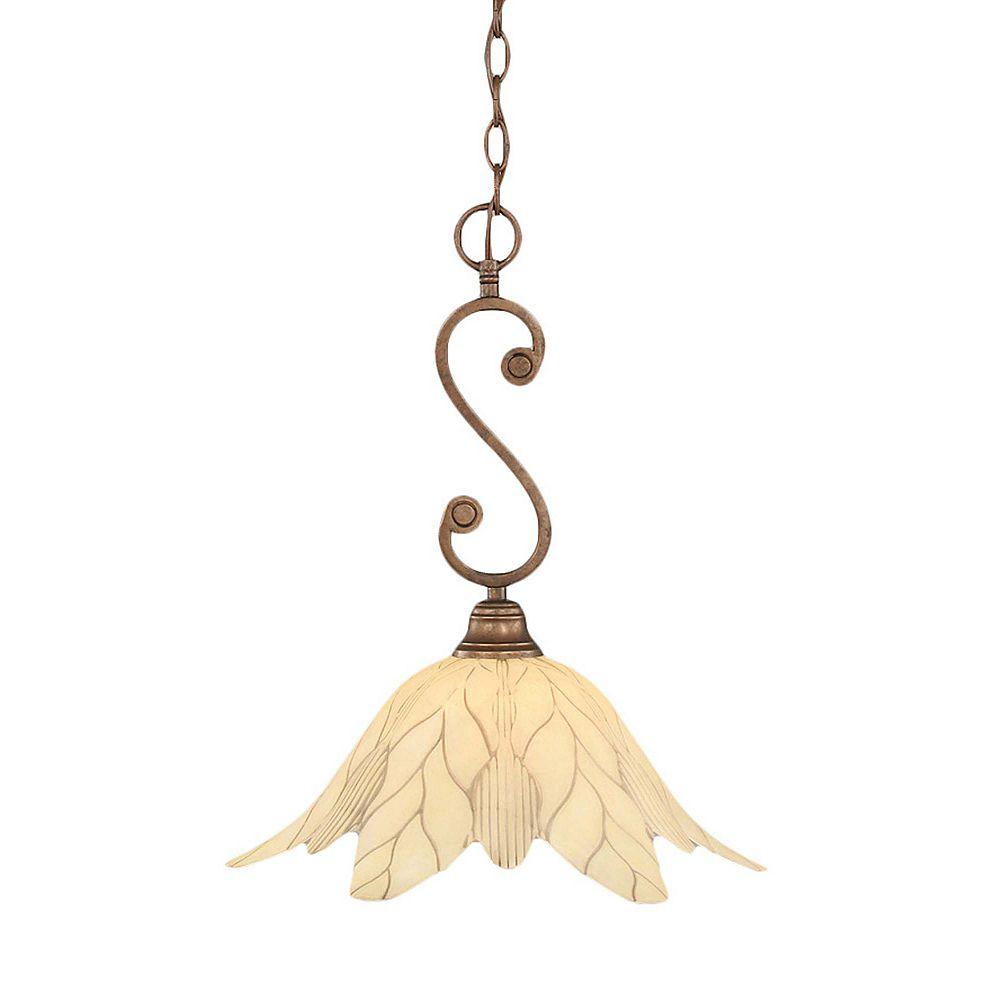 Filament Design Concord 1 lumière au plafond Bronze Pendeloque à incandescence avec un verre de feuille vanille
