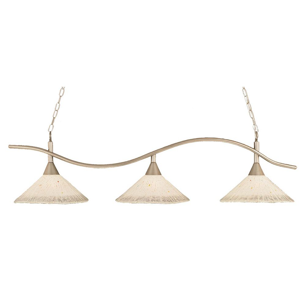 Filament Design Concord 3 Light Ceiling Brushed Nickel Incandescent Billiard Bar with a Frosted Crystal Glass