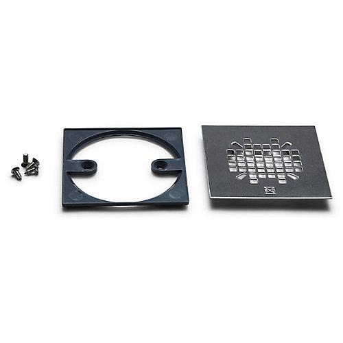 Crépine carrée en couleur inox (en acier inoxydable) avec adaptateur rond-carré et vis