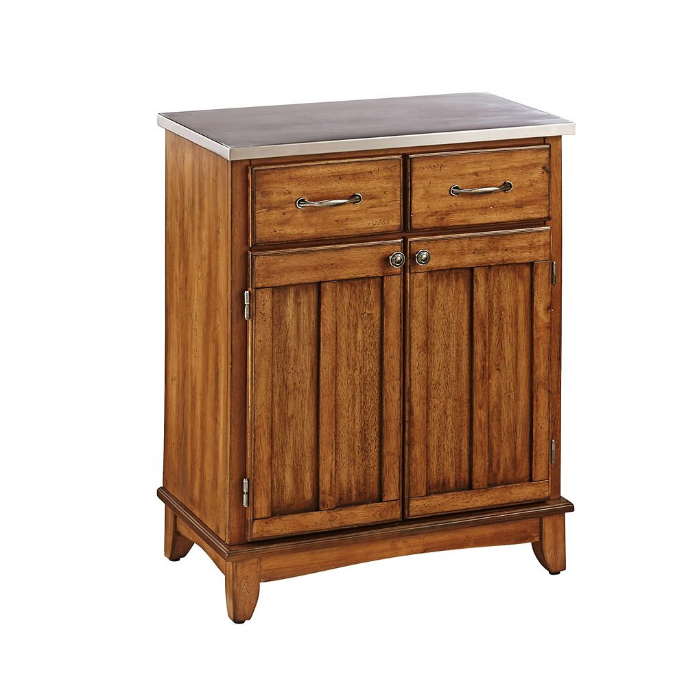 Home Styles Buffet of Buffet Cottage Oak Finish with Stainless Steel Top