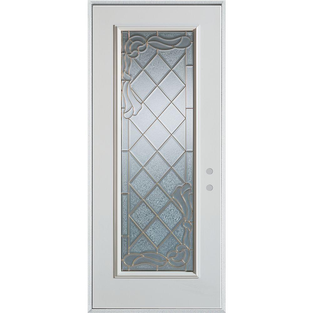 STANLEY Doors 37.375 inch x 82.375 inch Queen Anne Zinc Full Lite Prefinished White Left-Hand Inswing Steel Prehung Front Door - ENERGY STAR®