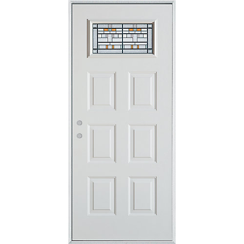 37.375 inch x 82.375 inch Chicago Patina 3/4 Lite 6-Panel Prefinished White Right-Hand Inswing Steel Prehung Front Door - ENERGY STAR®