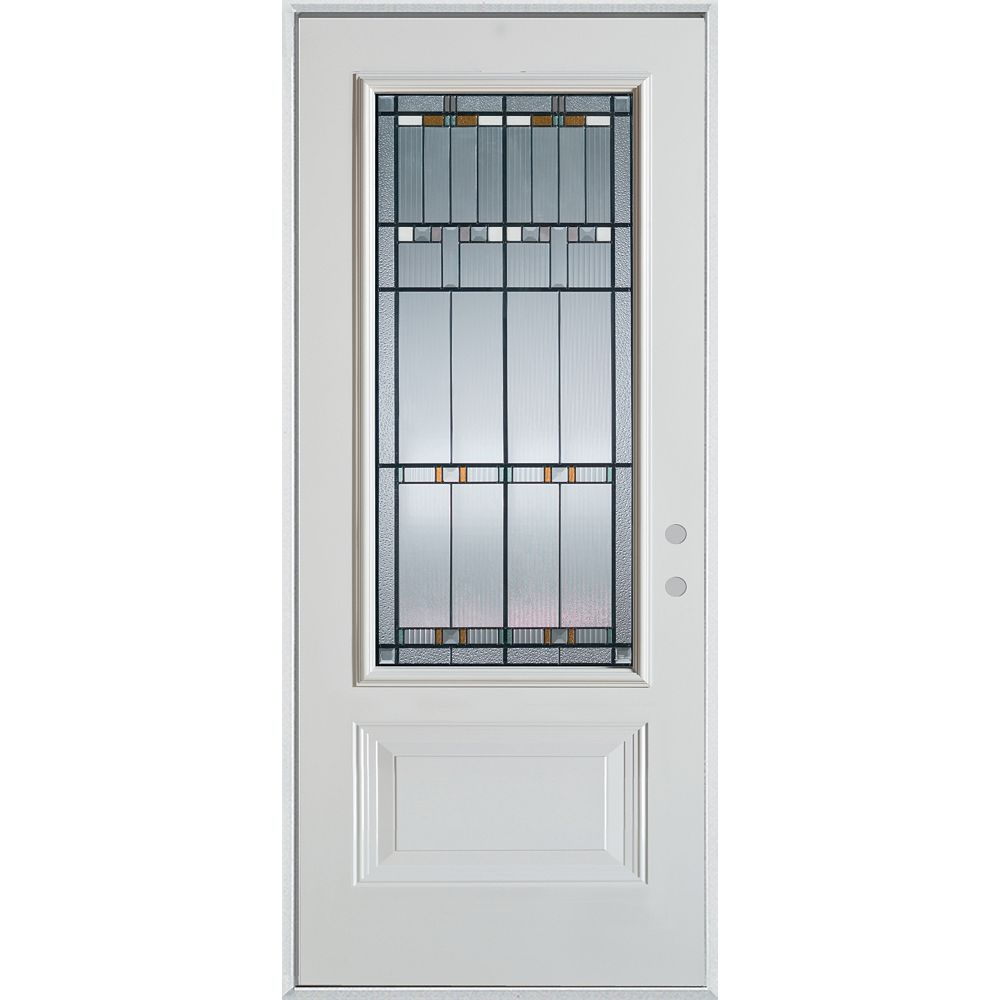 STANLEY Doors 37.375 inch x 82.375 inch Chicago Patina 3/4 Lite 1-Panel Prefinished White Left-Hand Inswing Steel Prehung Front Door - ENERGY STAR®