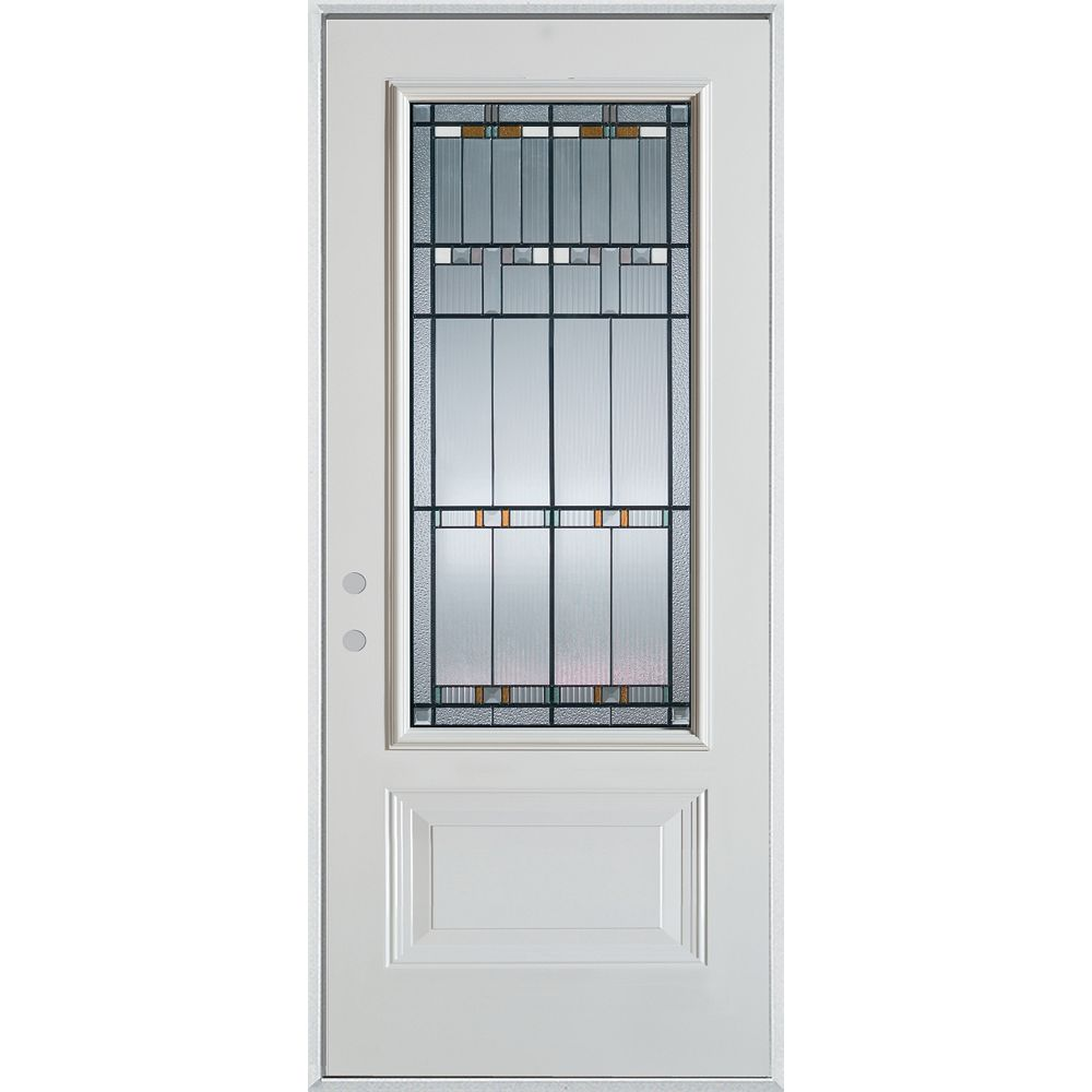 STANLEY Doors 37.375 inch x 82.375 inch Chicago Patina 3/4 Lite 1-Panel Prefinished White Right-Hand Inswing Steel Prehung Front Door - ENERGY STAR®