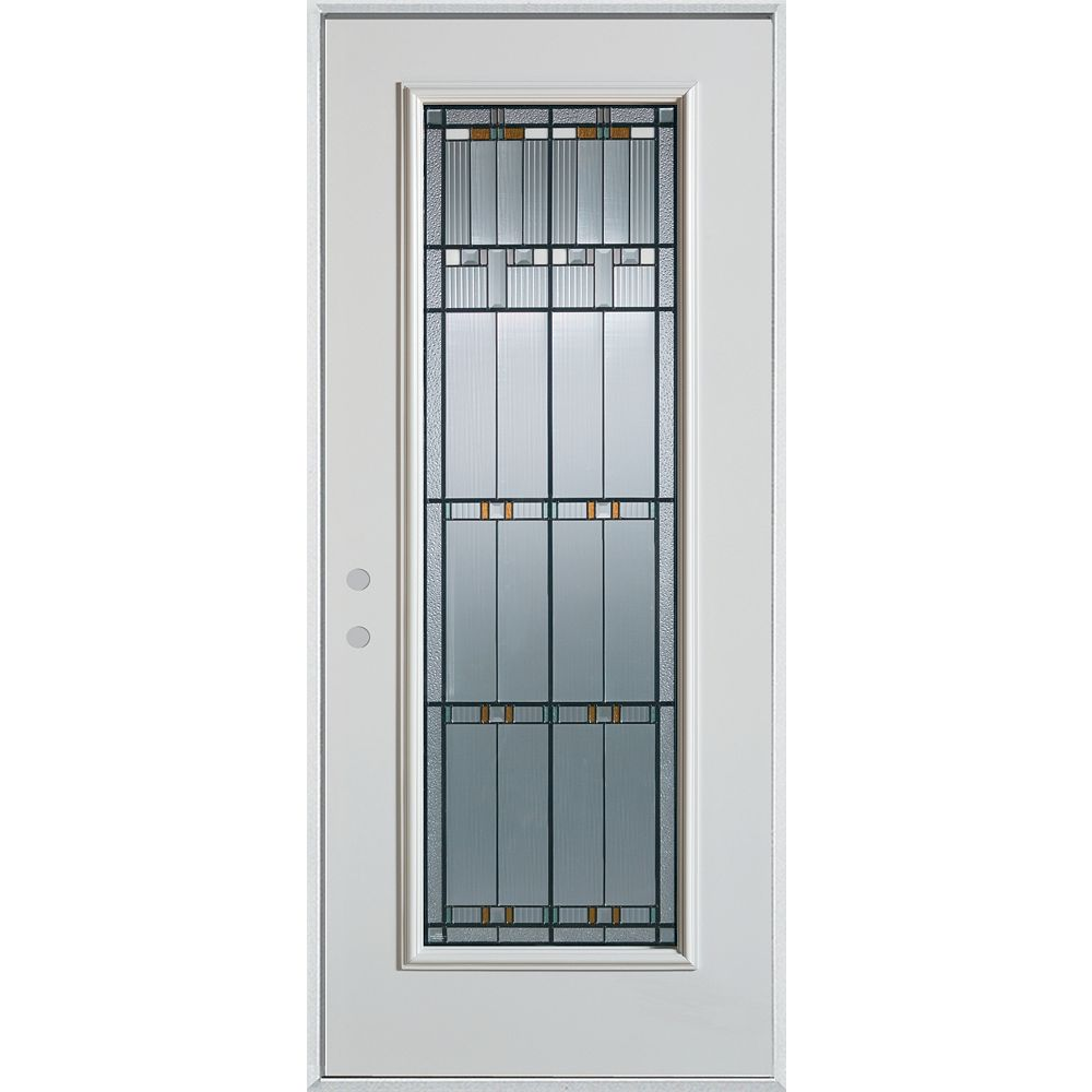 STANLEY Doors 37.375 inch x 82.375 inch Chicago Patina Full Lite Prefinished White Right-Hand Inswing Steel Prehung Front Door - ENERGY STAR®