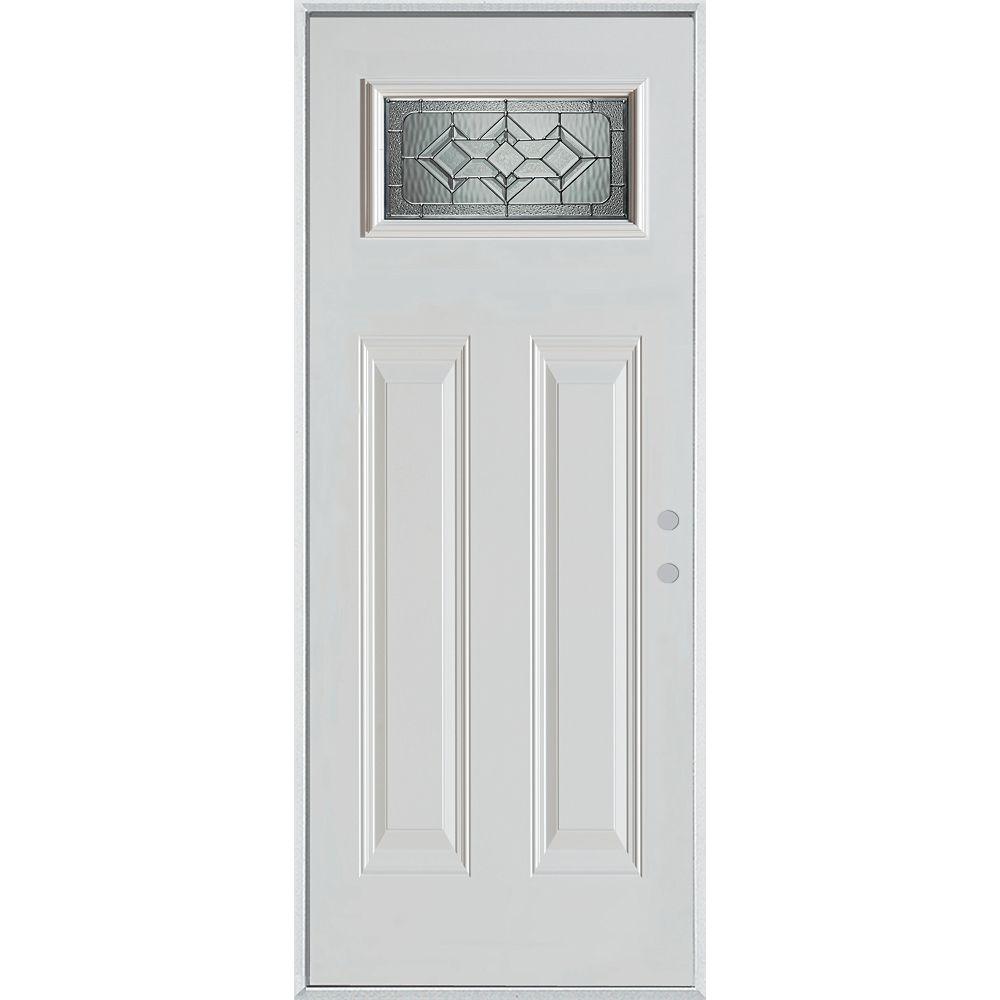 STANLEY Doors Porte dentrée en acier peint, munie de deux panneaux et dun verre rectangulaire