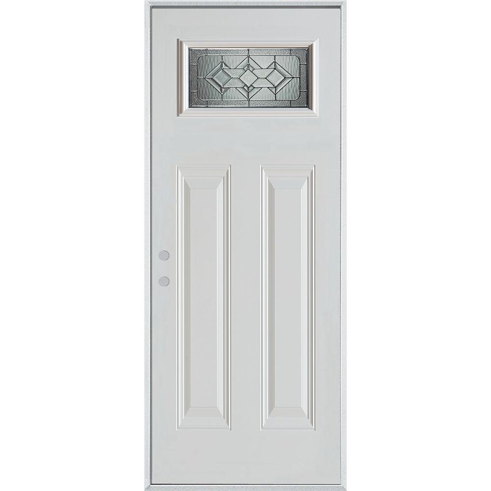 STANLEY Doors 37.375 inch x 82.375 inch Neo Deco Zinc Rectangular Lite 2-Panel Prefinished White Right-Hand Inswing Steel Prehung Front Door