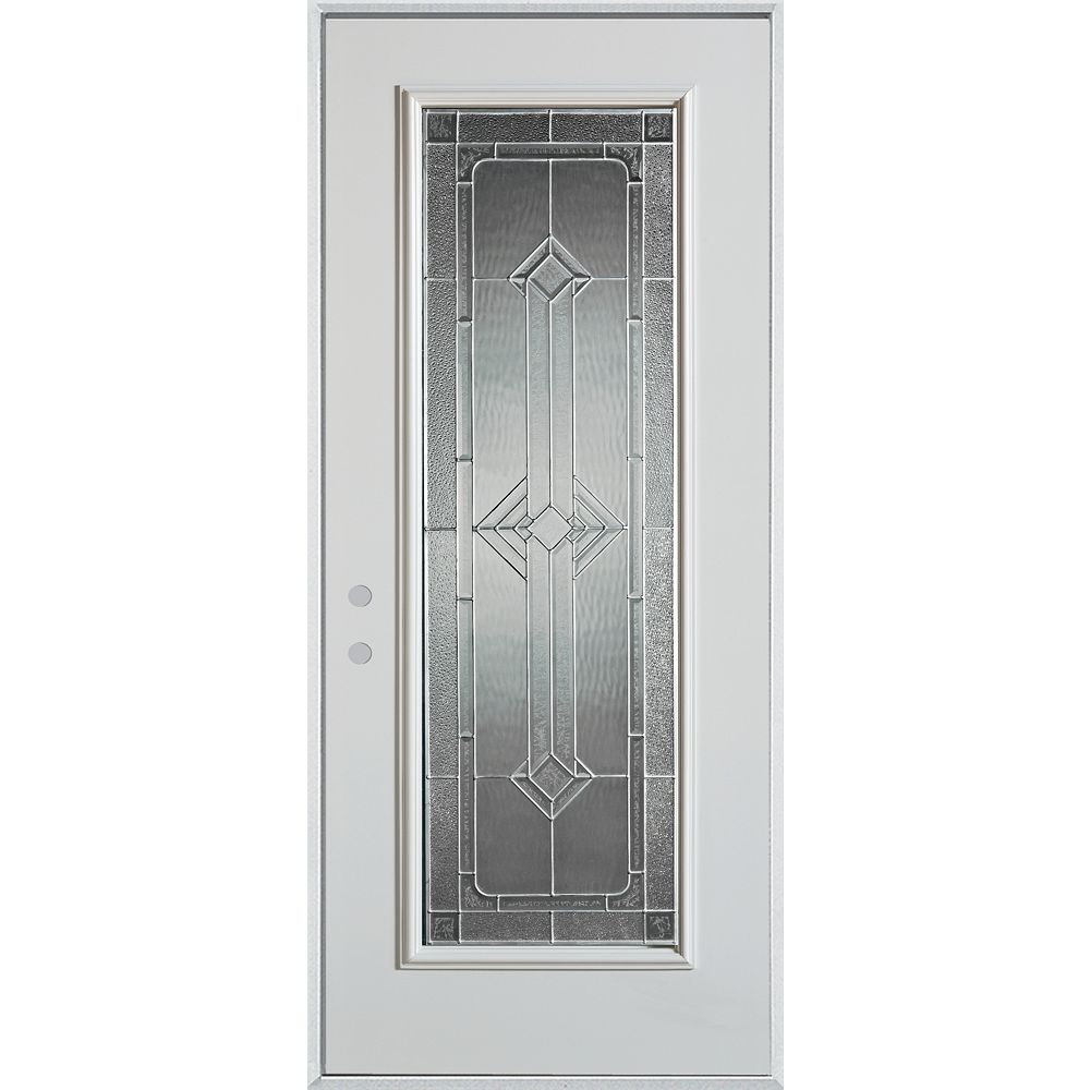 STANLEY Doors 37.375 inch x 82.375 inch Neo Deco Zinc Full Lite Prefinished White Right-Hand Inswing Steel Prehung Front Door - ENERGY STAR®