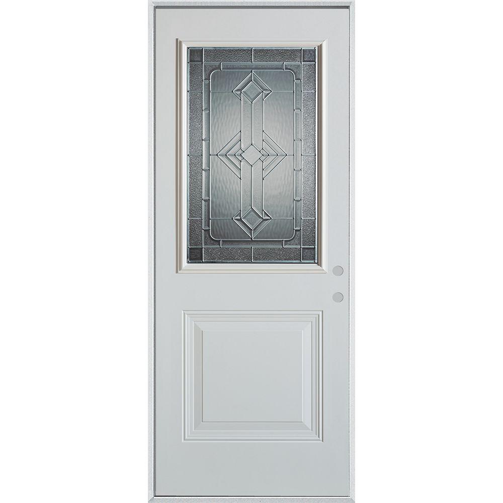 STANLEY Doors 37.375 inch x 82.375 inch Neo Deco Zinc 1/2 Lite 1-Panel Prefinished White Left-Hand Inswing Steel Prehung Front Door - ENERGY STAR®