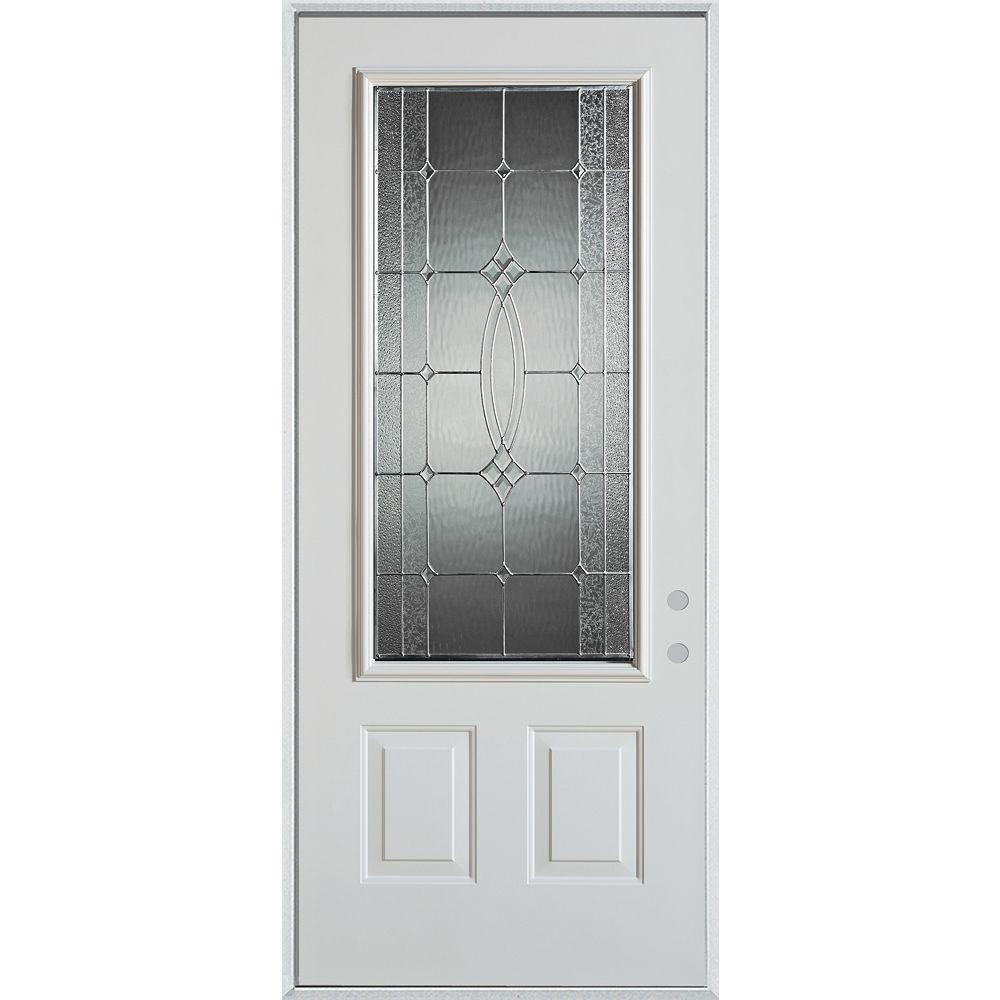 STANLEY Doors 37.375 inch x 82.375 inch Diamanti Zinc 3/4 Lite 2-Panel Prefinished White Left-Hand Inswing Steel Prehung Front Door - ENERGY STAR®