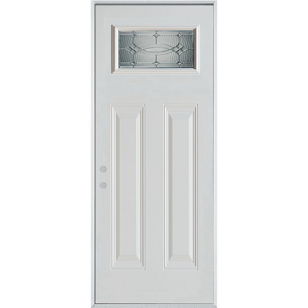 STANLEY Doors 37.375 inch x 82.375 inch Diamanti Zinc Rectangular Lite 2-Panel Prefinished White Right-Hand Inswing Steel Prehung Front Door - ENERGY STAR®