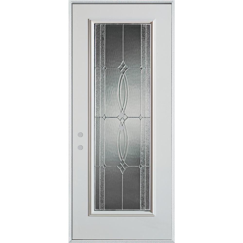 STANLEY Doors 37.375 inch x 82.375 inch Diamanti Zinc Full Lite Prefinished White Right-Hand Inswing Steel Prehung Front Door - ENERGY STAR®