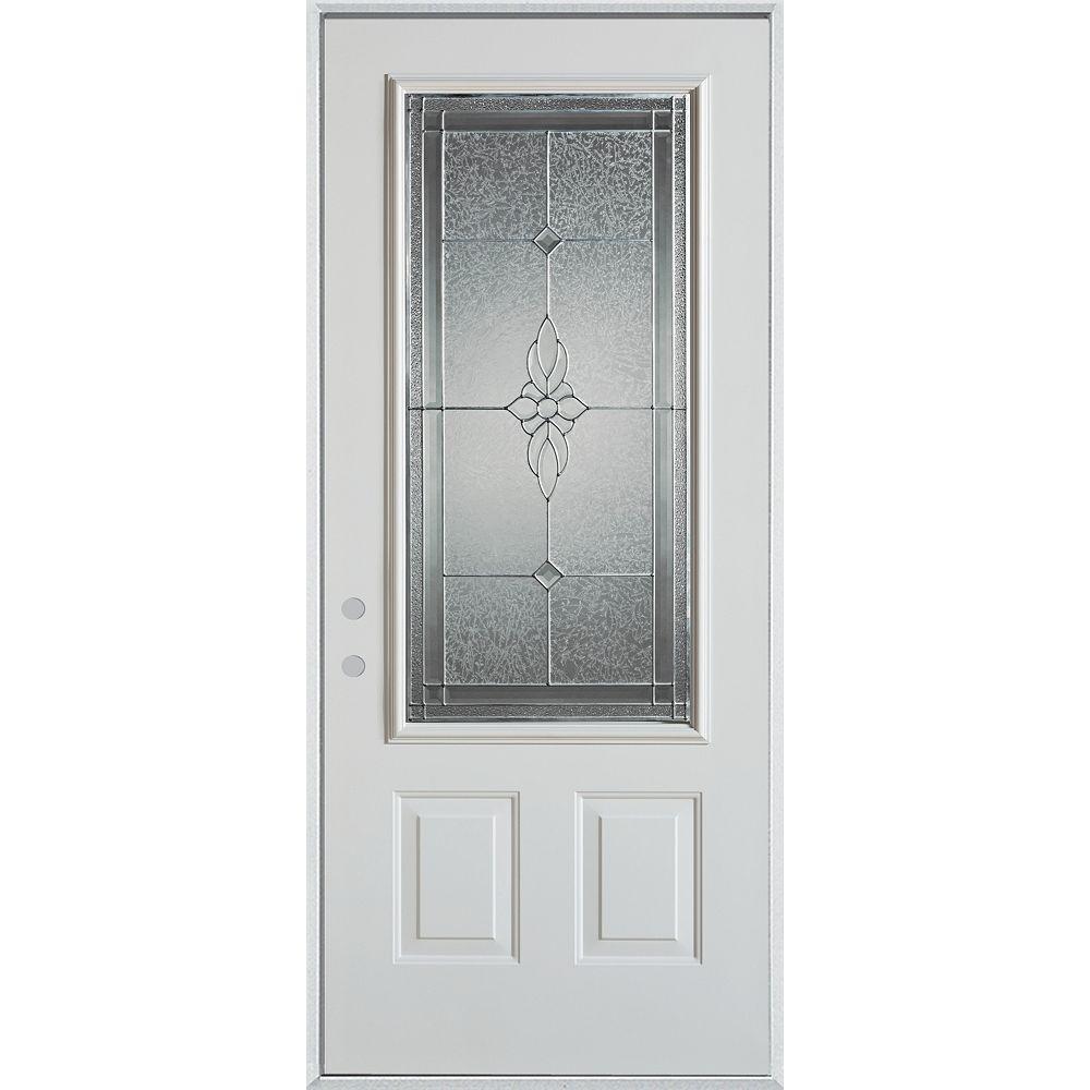 STANLEY Doors 37.375 inch x 82.375 inch Victoria Zinc 3/4 Lite 2-Panel Prefinished White Right-Hand Inswing Steel Prehung Front Door - ENERGY STAR®