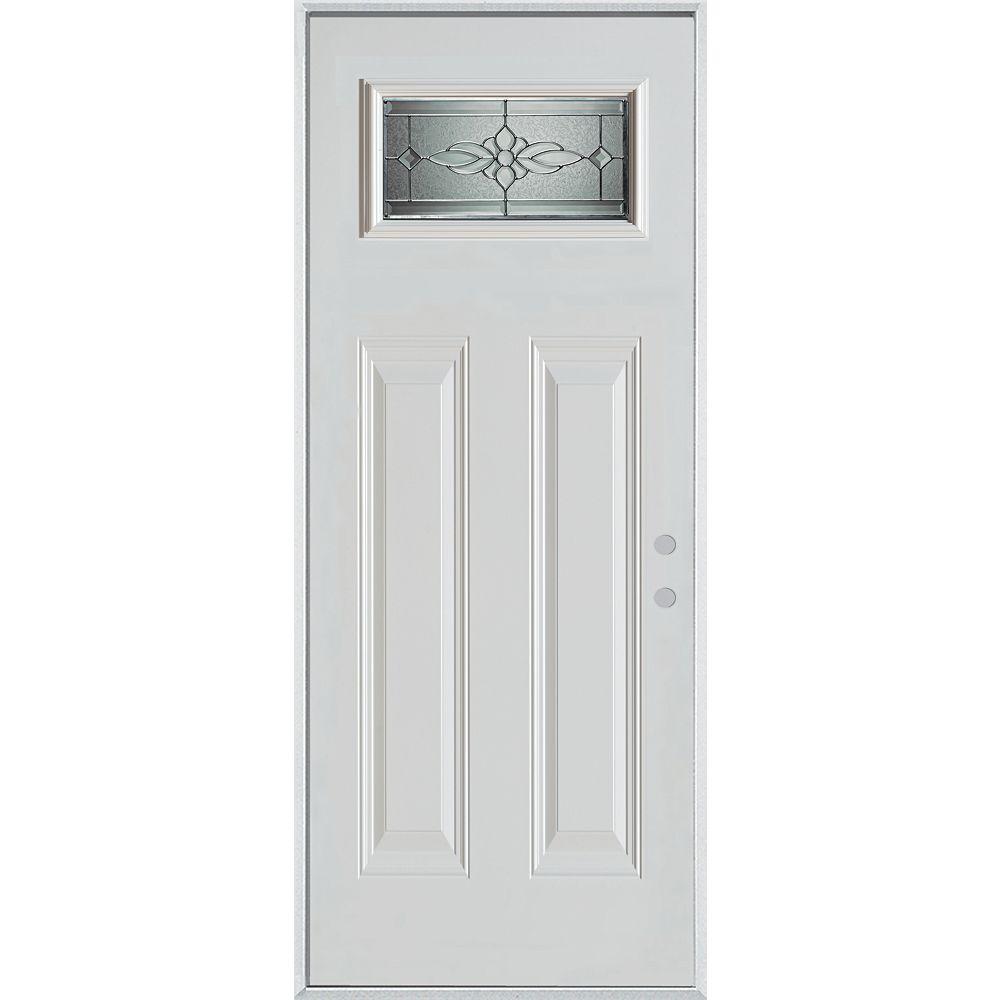 STANLEY Doors 37.375 inch x 82.375 inch Victoria Brass Rectangular Lite 2-Panel Prefinished White Left-Hand Inswing Steel Prehung Front Door