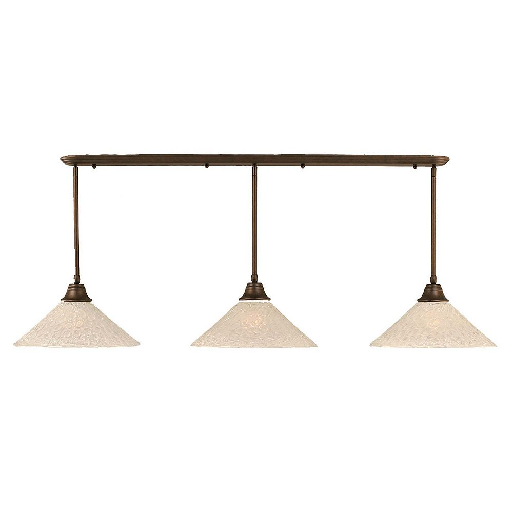 Filament Design Concord 3 Light Ceiling Bronze Incandescent Pendant with a Clear Crystal Glass