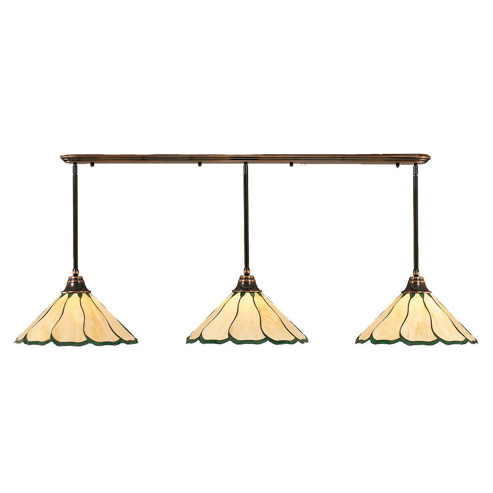 Filament Design Concord 3 Light Ceiling Black Copper Incandescent Pendant with a Honey and Green Tiffany Glass