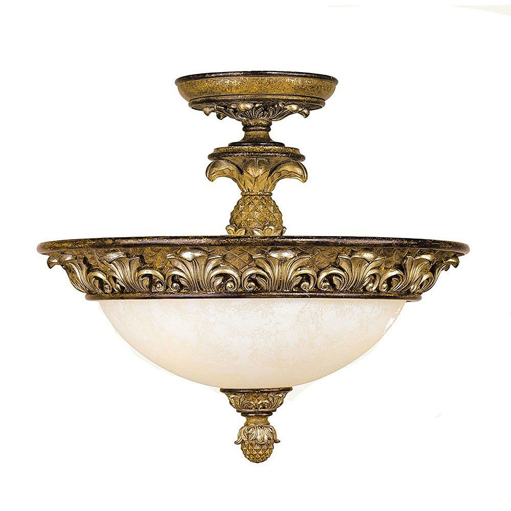 Illumine Providence 3 Light Golden Bronze Incandescent Semi Semi Flush Mountwith Vintage Carved Scavo Glass