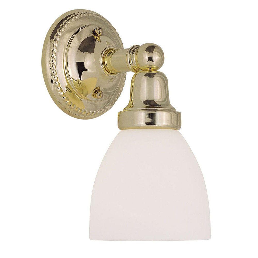 Illumine Providence 1 Light Bright Brass Incandescent Bath Vanity with Satin Glass