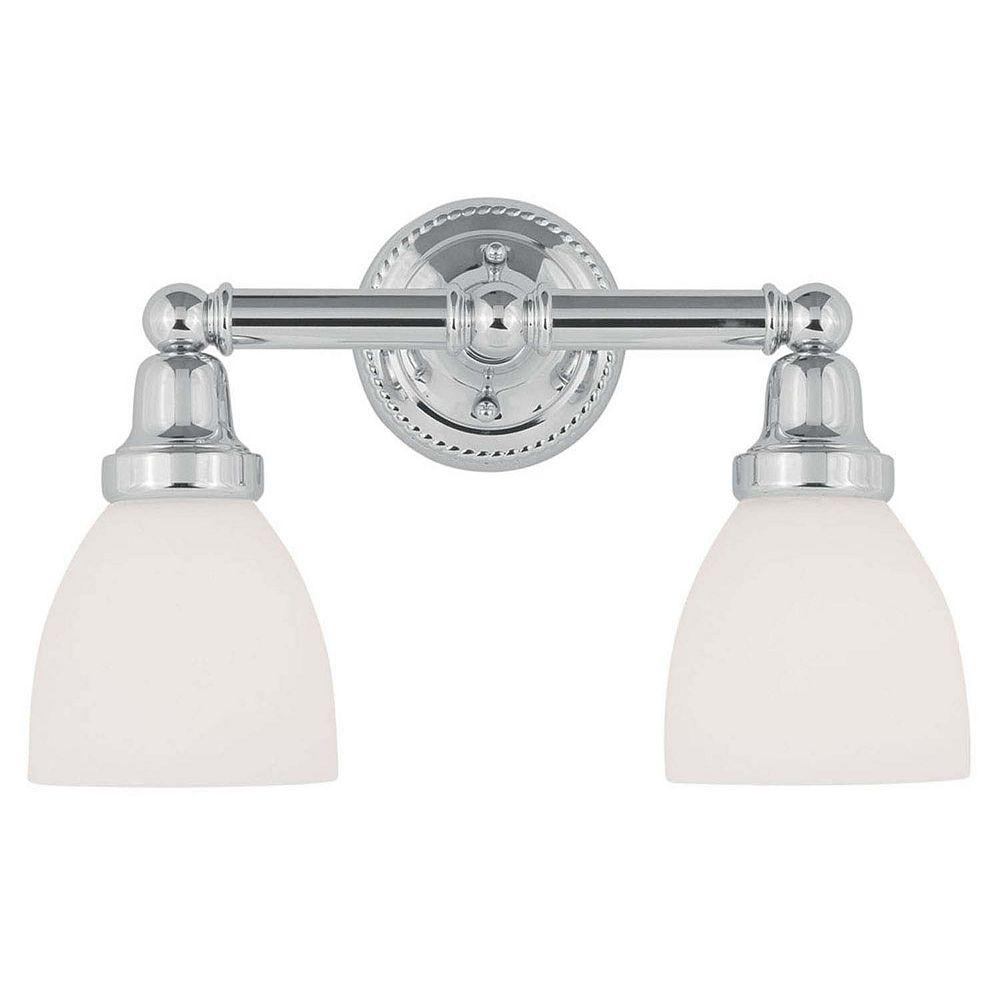 Illumine Providence 2-Light Chrome Bath Vanity with Satin Glass