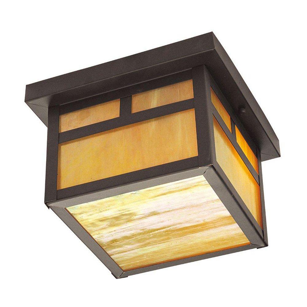 Illumine Providence 2-Light Solid Brass Outdoor Ceiling-Light with Iridescent Tiffany Glass