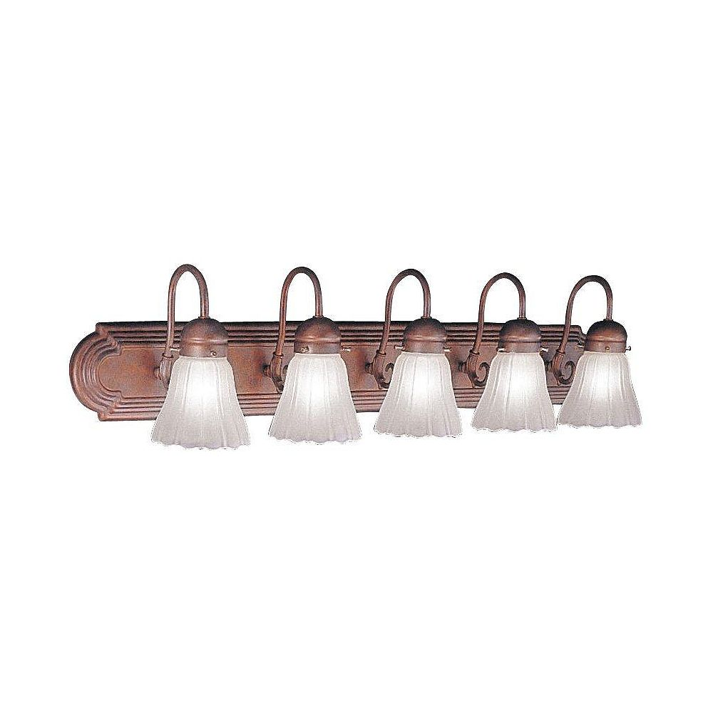 Illumine Providence 5 Light Weathered Brick Incandescent Bath Vanity with Satin Glass