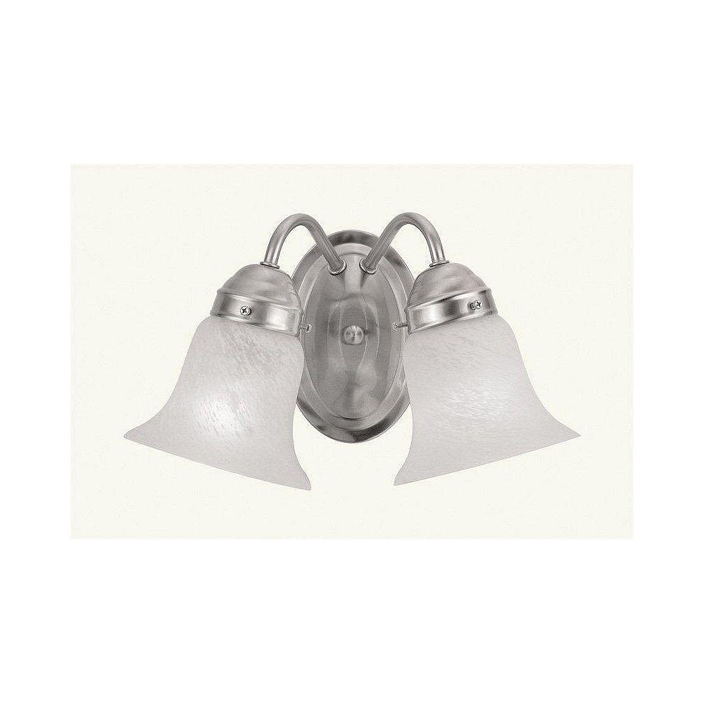 Illumine Providence 2 Light Brushed Nickel Incandescent Bath Vanity with White Alabaster Glass