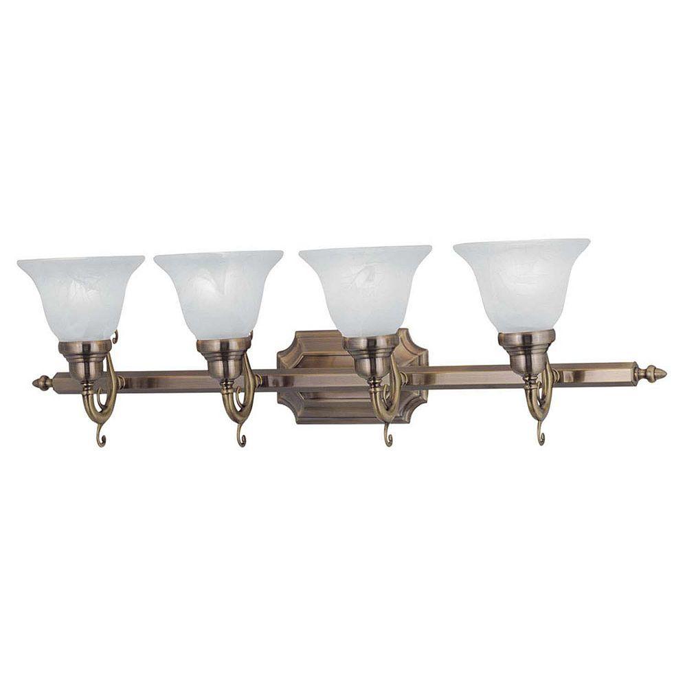 Illumine Providence 4-Light Antique Brass Bath Vanity with White Alabaster Glass