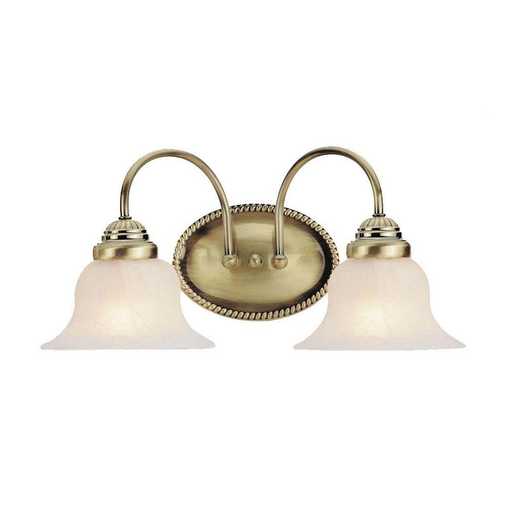 Illumine Providence 2-Light Antique Brass Bath Vanity with White Alabaster Glass