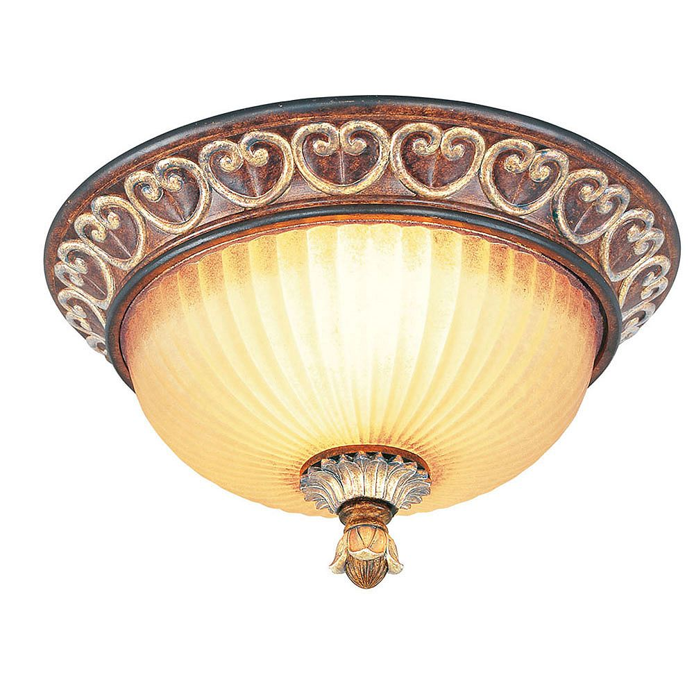 Illumine Providence 2 Light Bronze Incandescent Semi Flush Mount with Rustic Art Glass