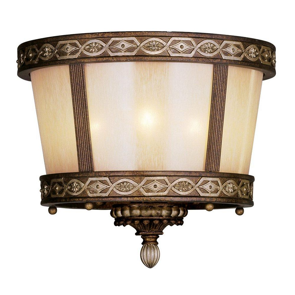 Illumine Providence 3 Light Bronze Incandescent Semi Flush Mount with Hand Crafted Gold Dusted Art Glass