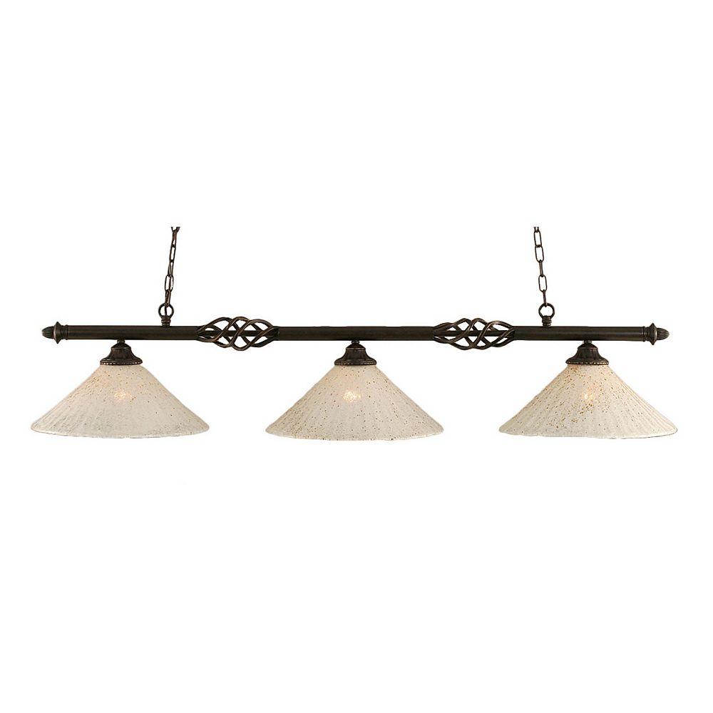 Filament Design 3 lumières plafond granite foncé incandescence Bar Billard avec un cristal en verre d'or