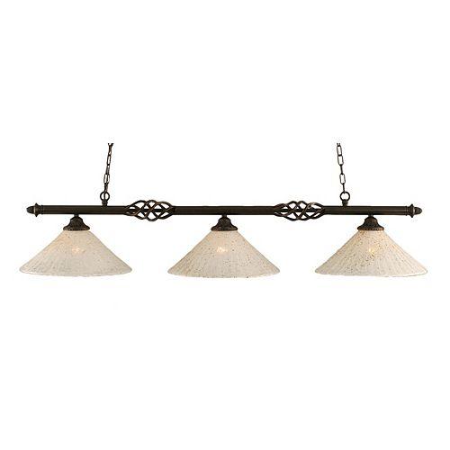 Filament Design 3-Light Ceiling Dark Granite Billiard Bar with a Gold Crystal Glass