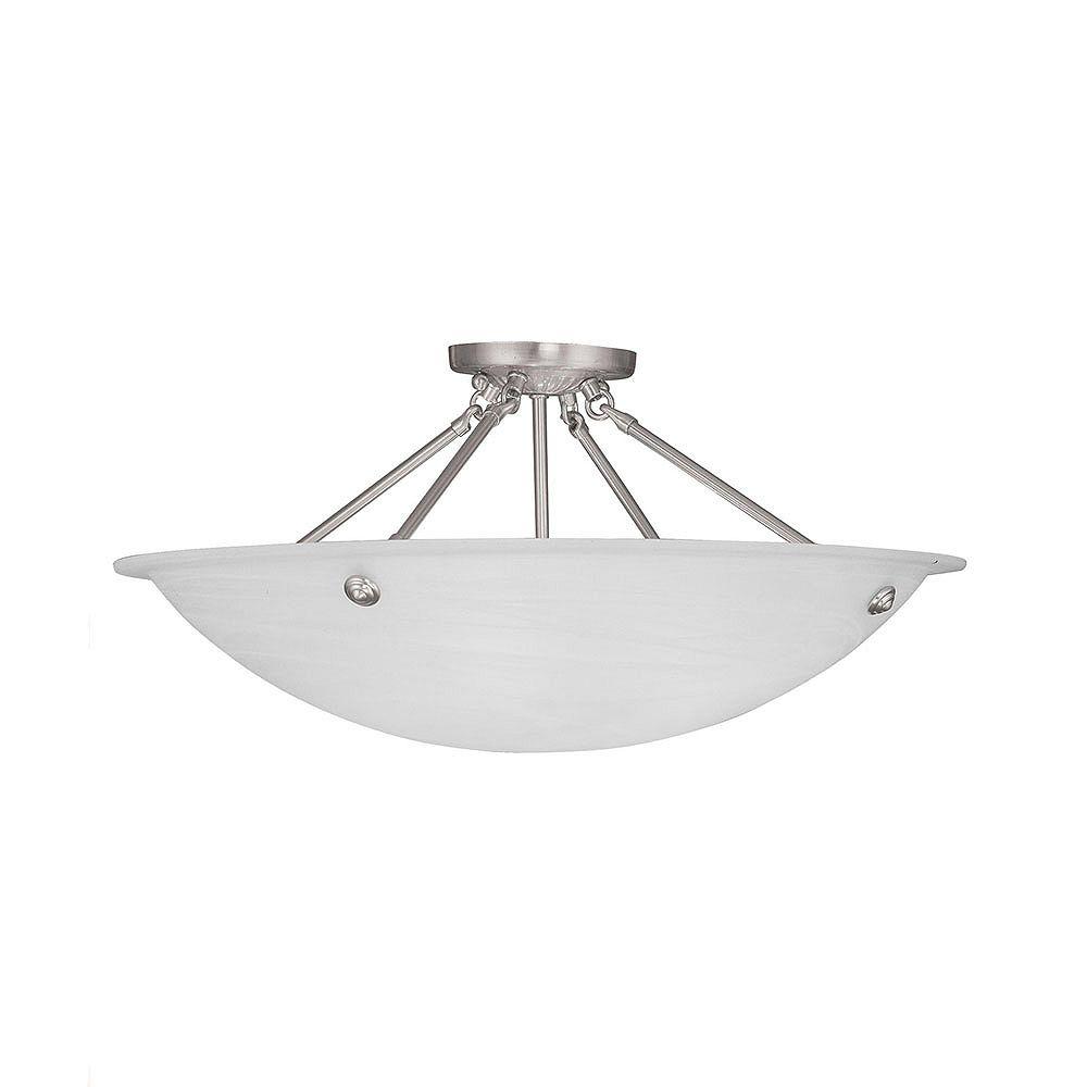 Illumine Providence 4 Light Brushed Nickel Incandescent Semi Flush Mount with White Alabaster Glass
