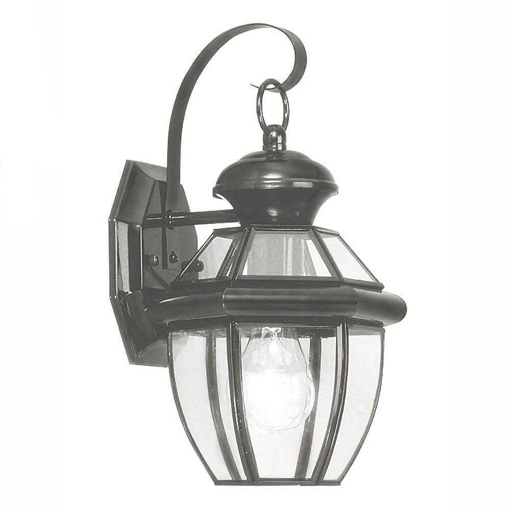 Illumine Providence 1-Light Black Wall Lantern with Clear Beveled Glass
