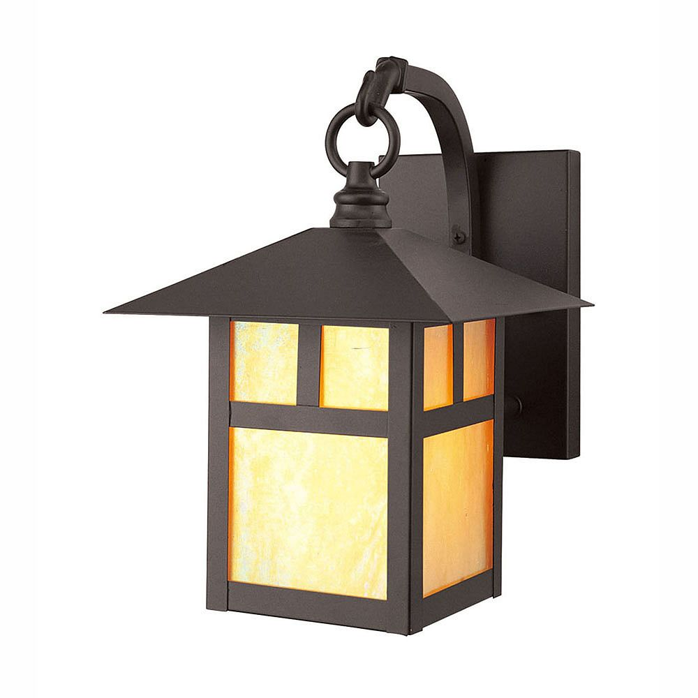 Illumine Providence 1-Light Bronze Wall Lantern with Iridescent Tiffany Glass